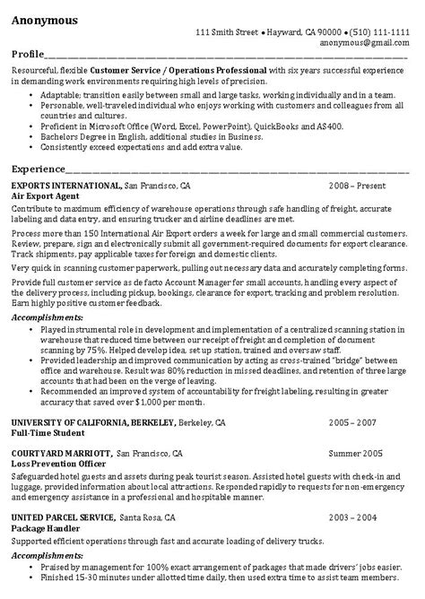 Professional Profile Resume Exles by Operations Manager Resume Exle Operations Professional