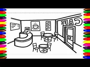 Cafe Shop, COFFEE SHOP, RESTAURANT Coloring Pages for kids ...