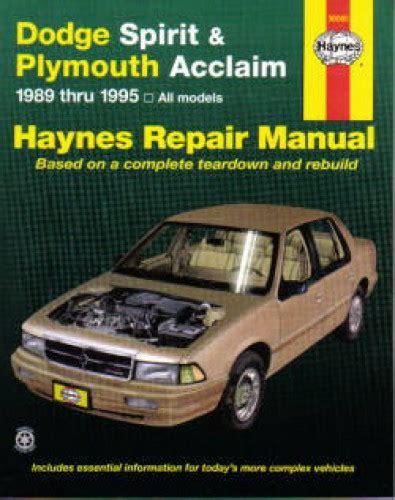free online auto service manuals 1992 dodge daytona engine control haynes dodge spirit plymouth acclaim 1989 1995 auto repair manual