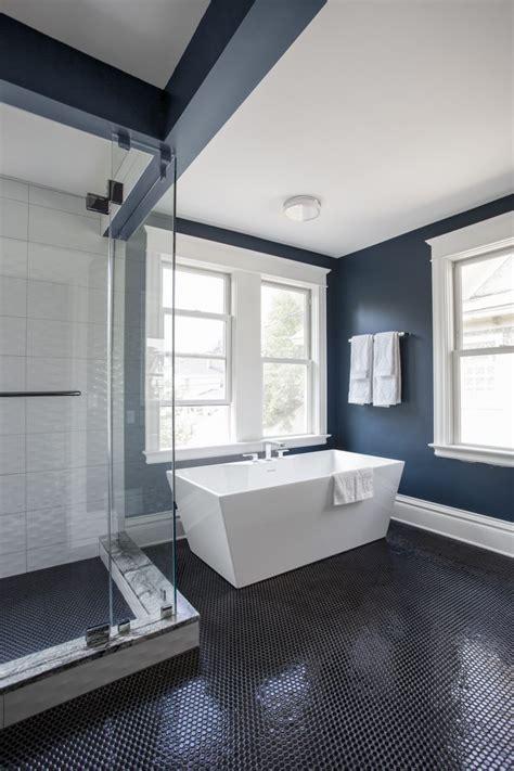 blue  black master bath trehus architects interior