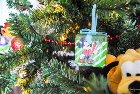 disney christmas tree decorations upright and caffeinated