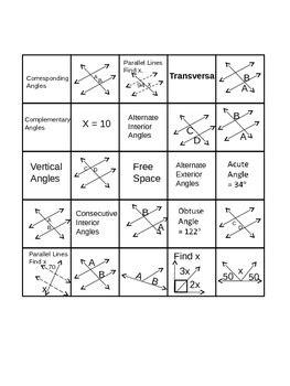 Geometry(angle Relationships Bingo) By Tanya Rachel Tpt