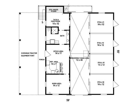 Horse Barn Outbuilding Plan # 006b-0001