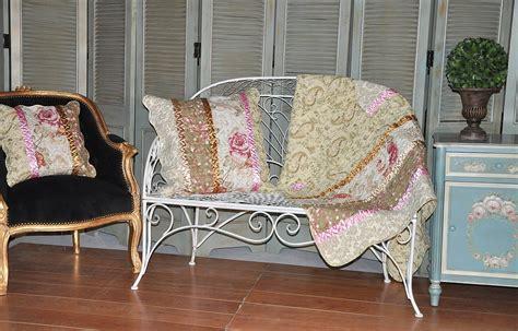 boutis canapé jeté de canapé imprimé fleurs avec ruban demeure et jardin