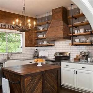 Barn Board Backsplash - Country - Kitchen - HGTV