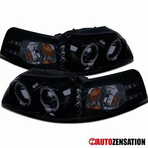 1999-2004 Ford Mustang LED Halo Projector Headlights Glossy Black SpecD Tuning for sale online ...