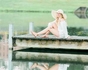 High School Senior Poses For Portraits On Dock Stock Photo ...