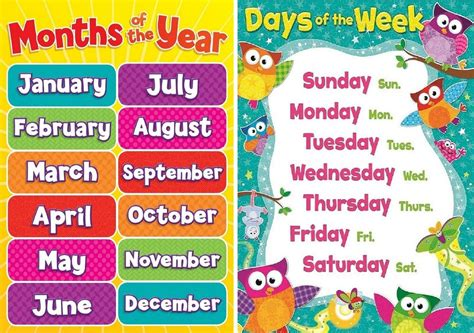 A4 Childrens Kids Todlers Months Of The Year And Days Of