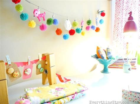 pom pom garland  crafty workspace