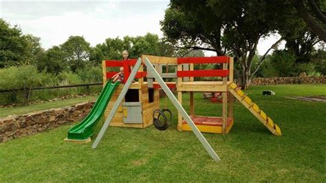 colorful pallet jungle gym kids playhouse  pallets