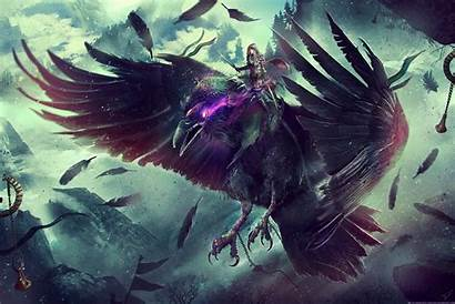4k Warcraft Fantasy Raven Wallpapers Resolution Backgrounds