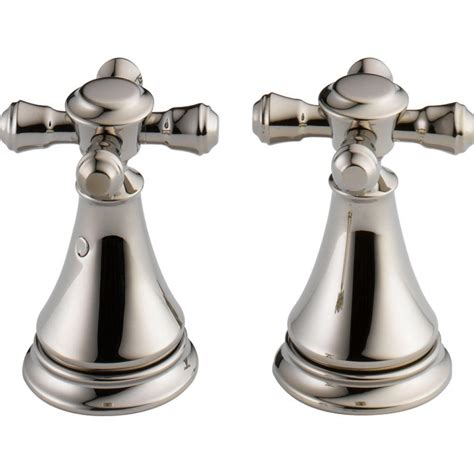 Delta Cassidy Bathroom Faucet Polished Nickel by Delta Pair Of Cassidy Metal Cross Handles For Bathroom