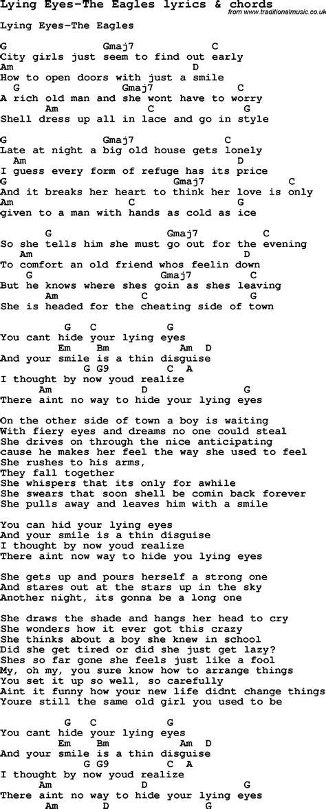 love song lyrics  lying eyes  eagles  chords