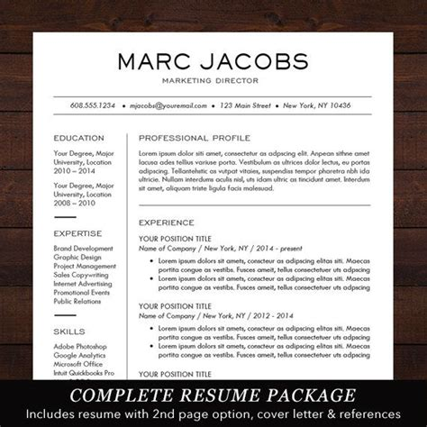 To Make A Resume Fast by Modern Resume Template Cv Template For Pages Word