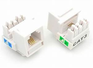 25 Pcs Cat3 Rj11 6p4c Phone Telephone Keystone Jack 110 Modular White Cat 3