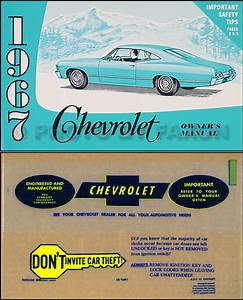 1967 Chevy Owner Manual Package Rep Impala Ss Caprice Bel