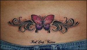Butterfly Lower Back Tattoo For Girls