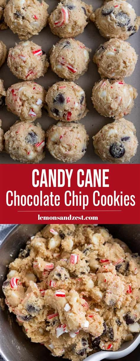This recipe for delicious lemon cookies is quick and easy thanks to lemon cake mix. Peppermint Chocolate Chip Cookies | Christmas Cookies - lemons + zest - Yummy Recipes