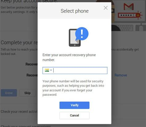 account recovery phone number how to set recovery phone number in gmail