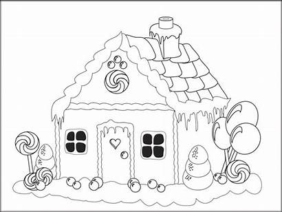 Gingerbread Coloring Pages Printable Houses Sheet Christmas