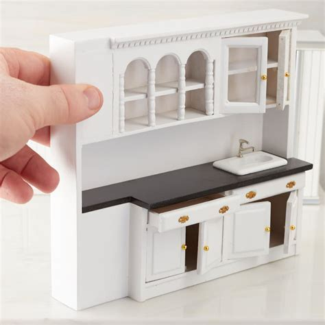 Dollhouse Miniature White Kitchen Sink and Cabinets