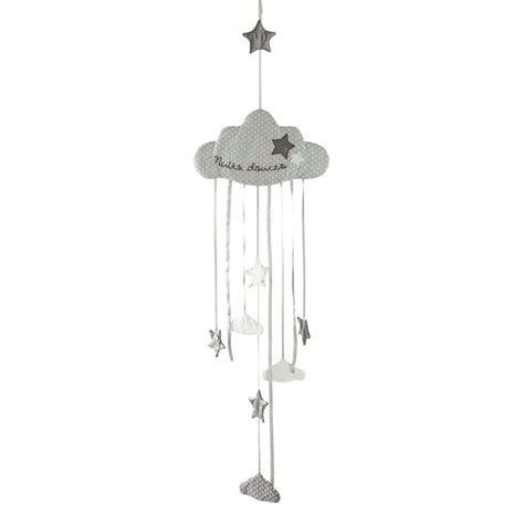 décoration chambre de bébé garçon guirlande nuage enfant en coton grise l 130 cm douce nuit