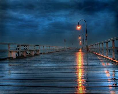 Places Rainy Night Rain Deck Wallpapers Backgrounds
