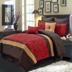 8pc atlantis red gold and chocolate luxury 8 piece comforter set ebay