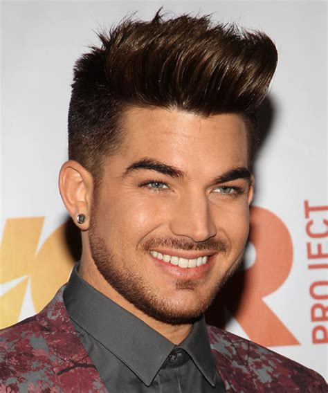 adam lambert short straight casual hairstyle brunette