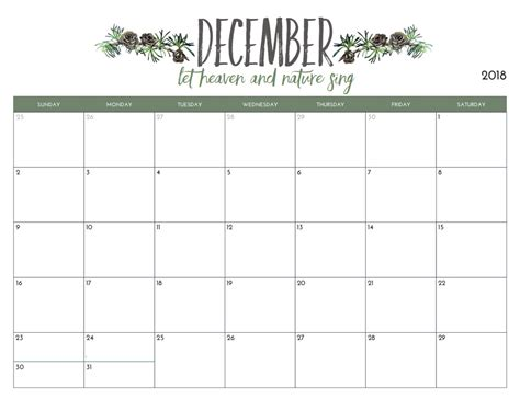 Free Calendar Template 2018 by Free Printable 2018 Monthly Calendar Calendar 2018