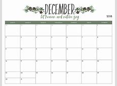 Full Page Blank Calendar To Print December 2018