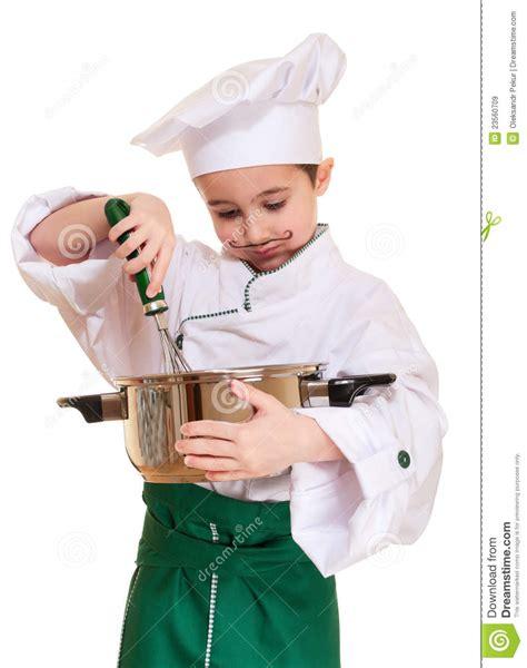 cuisine petit chef petit chef avec l 39 ustensile de cuisine image stock image