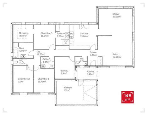 plan maison plein pied 4 chambres plan de maison de 150m2 plans architecturaux