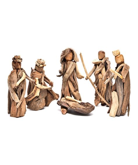 driftwood nativity figurines set