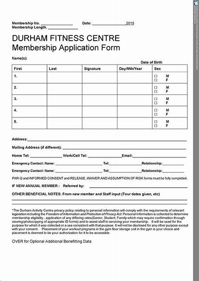 Form Membership Forms Gym Admission Application Waiver