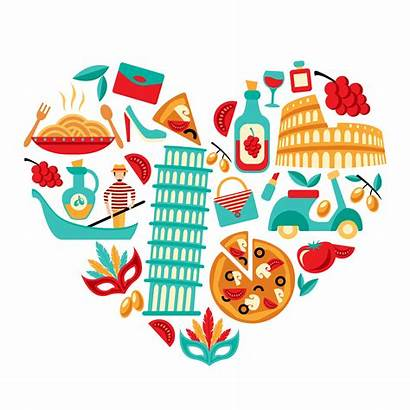 Italy Heart Vector Clipart Icons Graphics
