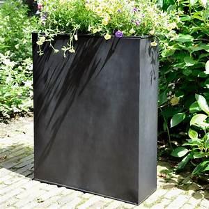Pot De Fleur Grande Taille : bac fleurs acier l80 h92 cm noir plantes et jardins ~ Teatrodelosmanantiales.com Idées de Décoration