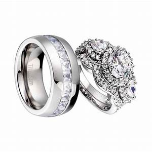 3 piece sterling silver titanium cz cubic zirconia bridal With 3 piece wedding ring sets