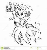 Mermaid Coloring Male Vector Merman Triton Children Illustration Octopus Clipart Fairy Clip Drawing Vectors Isolated Silhouette Illustrations Drawings Royalty Drawn sketch template