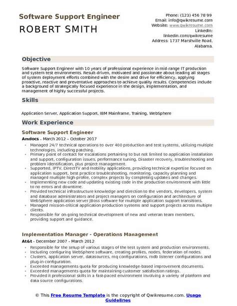 software support engineer resume samples qwikresume