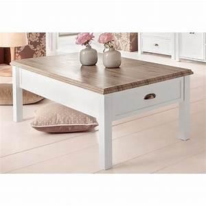 Table Basse Blanc Bois : table basse rectangulaire 1 tiroir 3suisses ~ Teatrodelosmanantiales.com Idées de Décoration