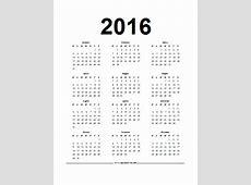 Calendario in PDF del 2016