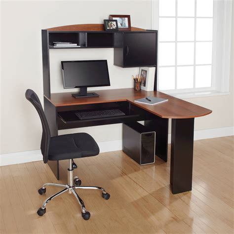 walmart computer desk black l desk black and oak walmart