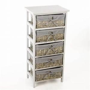 Meuble A Panier : meuble en bois 5 tiroirs paniers en osier avec housses ~ Teatrodelosmanantiales.com Idées de Décoration