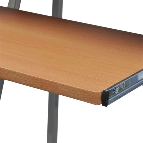 Computer Desk With Pull Out Keyboard Tray Brown | vidaXL