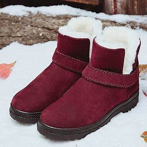designer big size strappy warm suede ankle slip on fur With letter warm fur lining flat slip on ankle boots