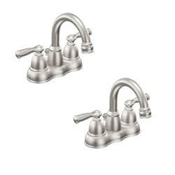 moen eva 4 in centerset 2 handle high arc bathroom faucet