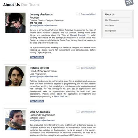 employee biography template meet the team pages exles and trends smashing magazine