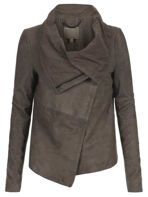 draped leather jacket sinoia suede drape jacket in grey