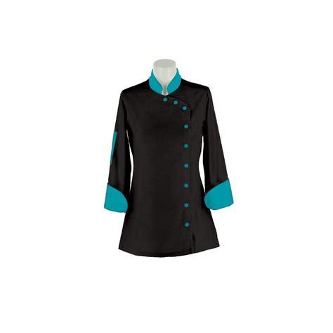 veste de cuisine noir veste cuisine femme turquoise et noir manches longues